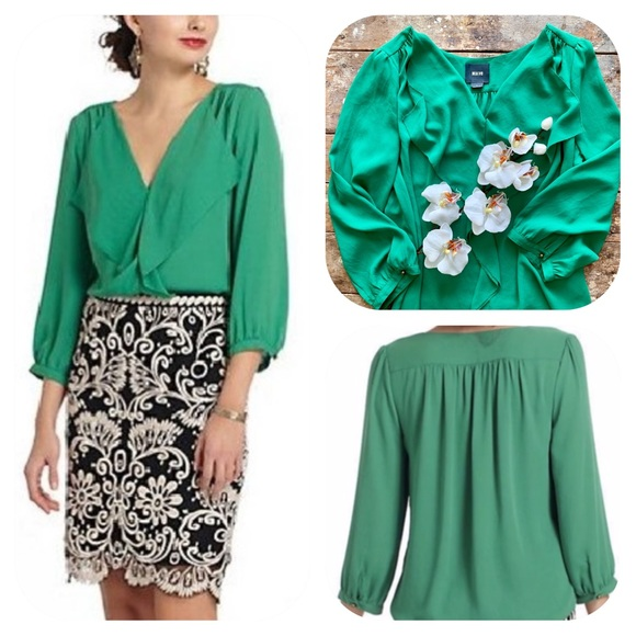 Anthropologie Tops - Anthropologie Maeve Parted Ruffle Green Top Blouse